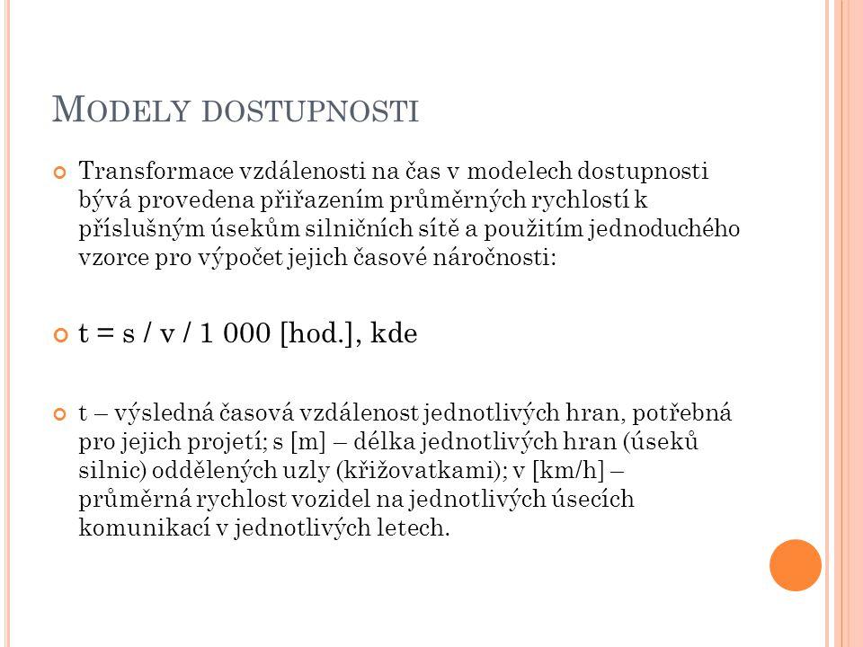 Modely dostupnosti t = s / v / 1 000 [hod.], kde